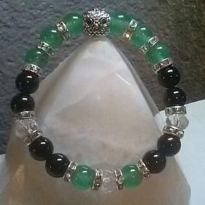 Owl Green Aventurine & Black Agate Energy Bracelet
